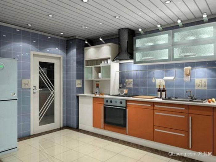 专为暖心潮男准备的欧式简约开放式厨房装修效果图