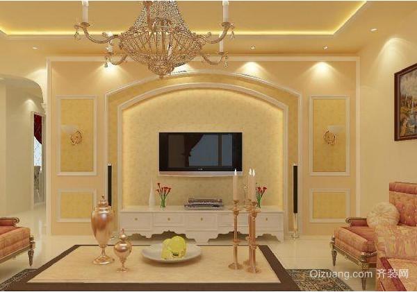 高贵典雅的欧式客厅电视背景墙装修效果图
