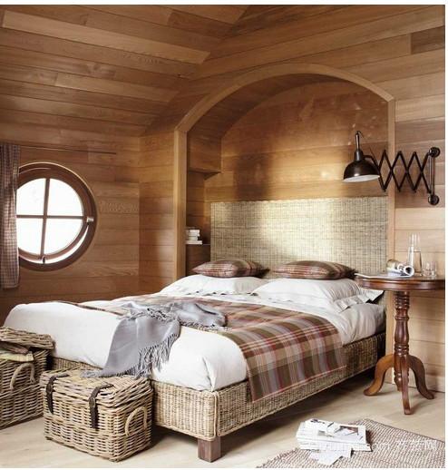 美式乡村别墅卧室窗帘装修效果图