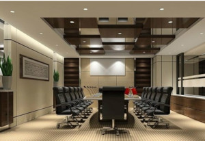 大气简约会议室吊顶装修设计效果图