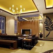 暖色调客厅吊顶图