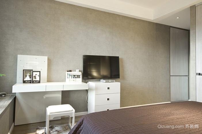 简洁大方单身公寓卧室电视背景墙装修效果图