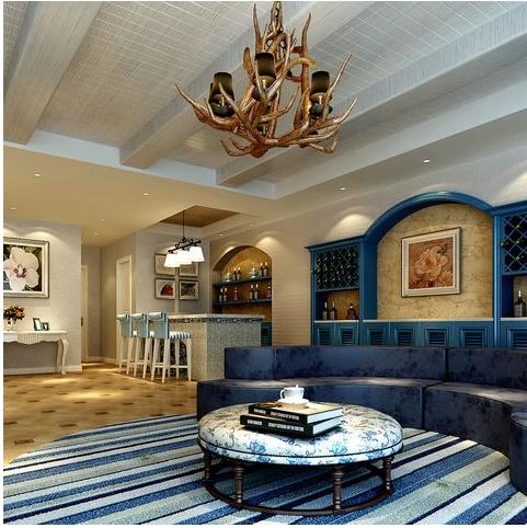 地中海别墅客厅电视背景墙效果图