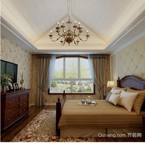 中式别墅卧室飘窗装修效果图