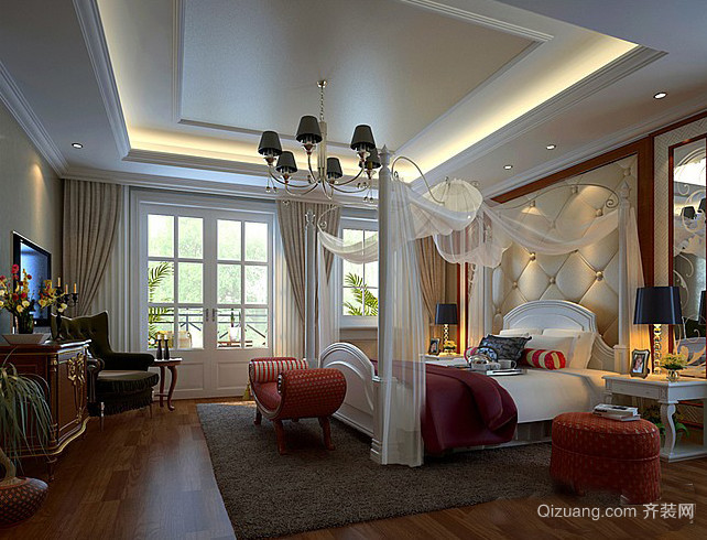 三室一厅美式复古风格卧室装修效果图