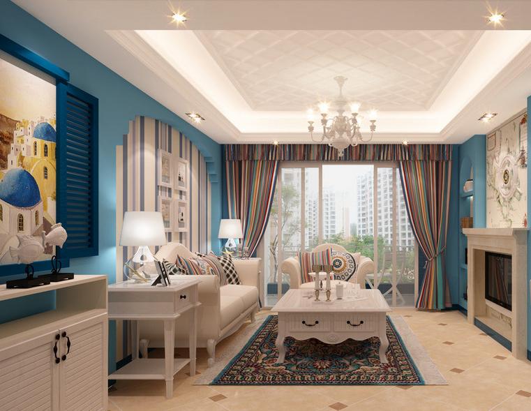 三室二厅醉人心脾的地中海风格客厅装修效果图