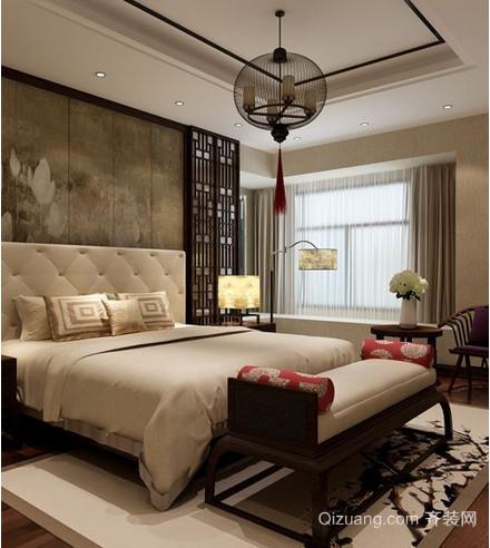 中式卧室飘窗装修效果图
