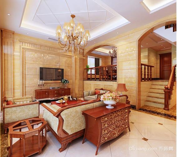 奢华欧式别墅客厅电视背景墙效果图