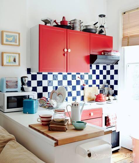 另一种格调之美 白色简约开放式厨房装修效果图