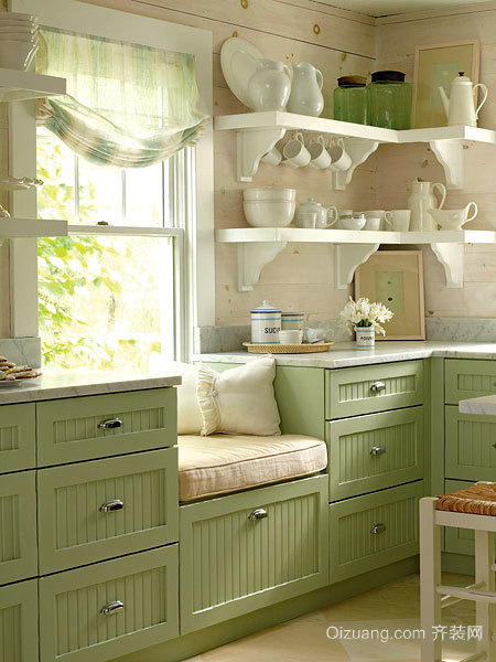 文艺少女必爱 简约清新款小型开放厨房效果图