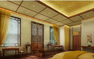 中式卧室窗帘装修效果图