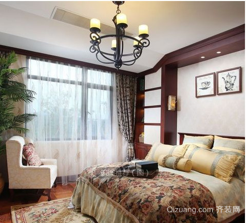 美式别墅卧室窗帘装修效果图