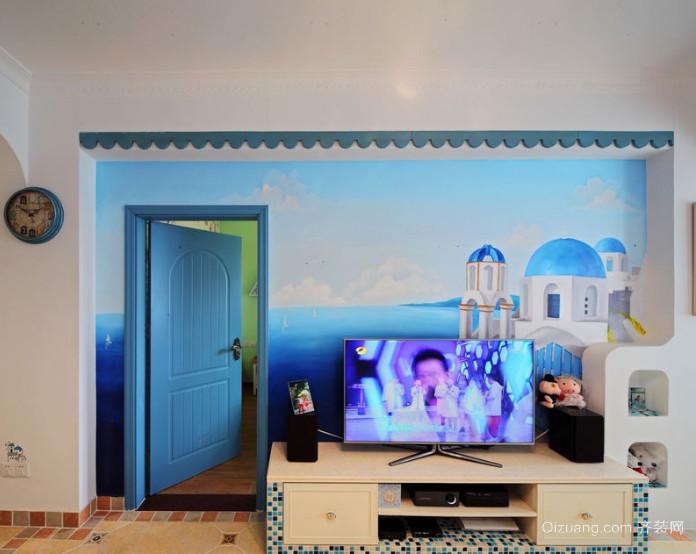 两室一厅地中海风格电视背景墙装修效果图