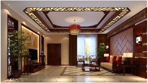 中式别墅卧室窗帘装修效果图