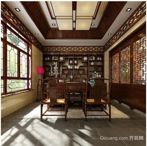 中式别墅书柜装修效果图