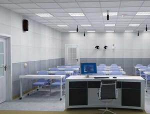 现代多媒体阶梯教室桌椅装修效果图