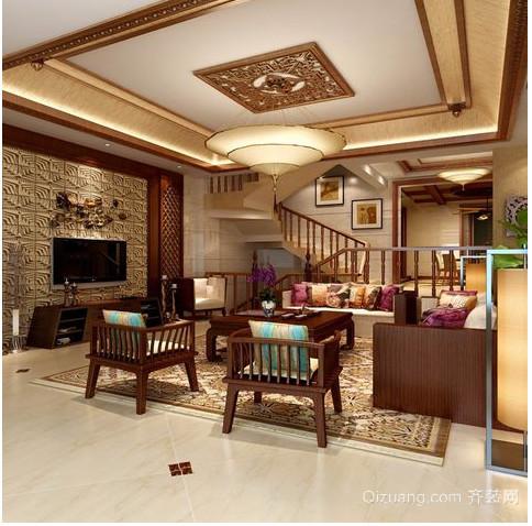 雅致的东南亚别墅客厅电视背景墙效果图