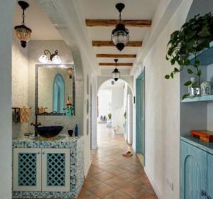 90平米地中海风格走廊吊顶装修效果图