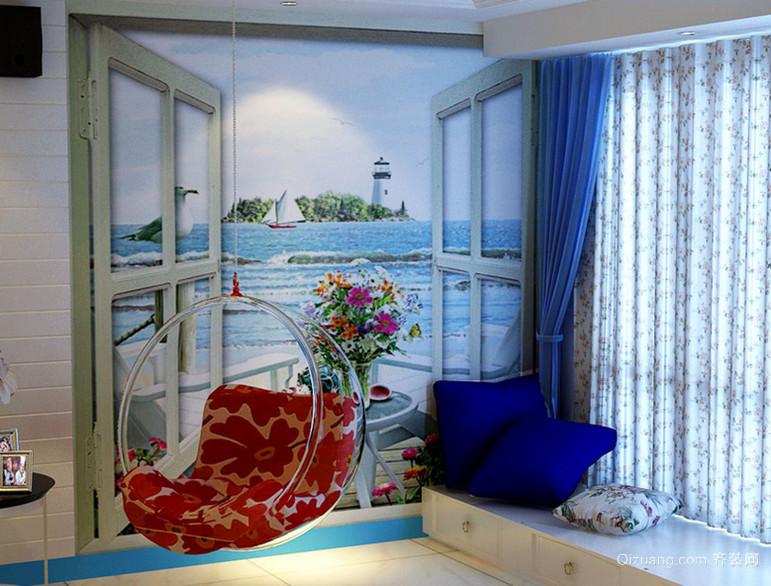 人鱼国度 地中海风格飘窗窗帘设计效果图鉴赏