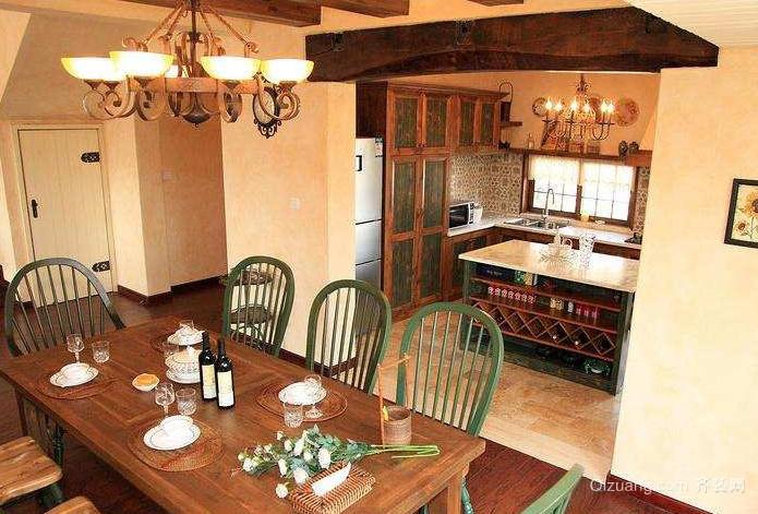 70平米美式乡村风格餐厅装修