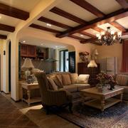 复古风格客厅装修吊顶设计