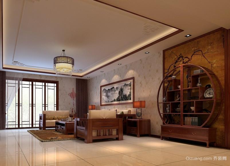 90平米古色古香的中式客厅博古架装修效果图