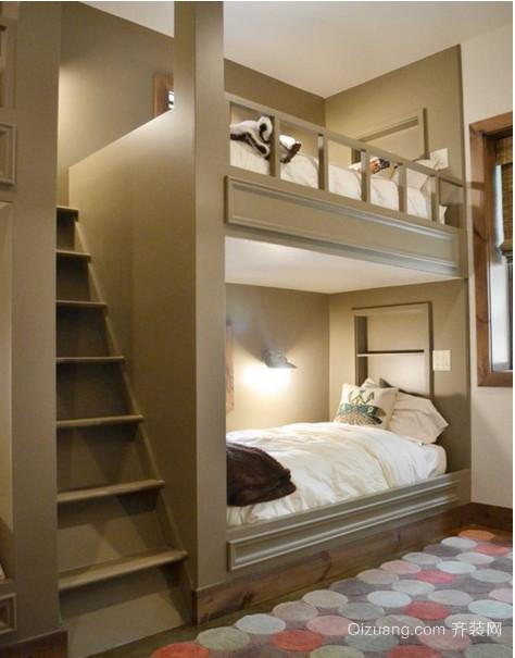 深受孩子喜爱的大户型儿童卧室双层床装修效果图