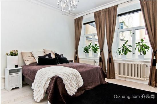 北欧别墅卧室窗帘装修效果图