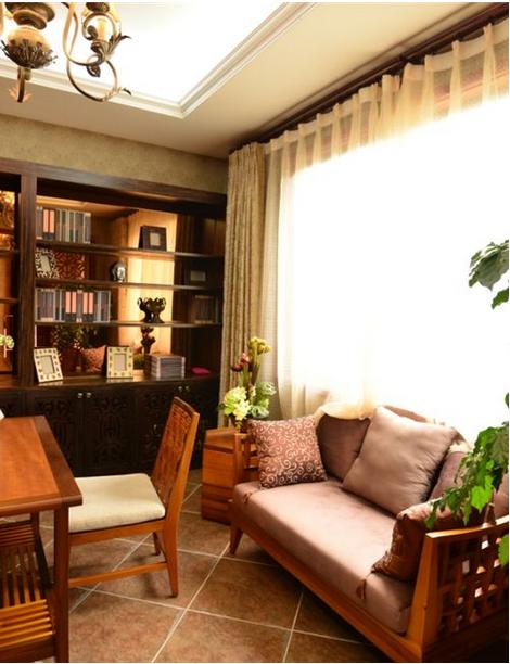 东南亚别墅书柜装修效果图