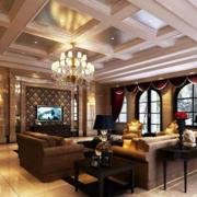 经典复古欧式高档别墅客厅吊顶