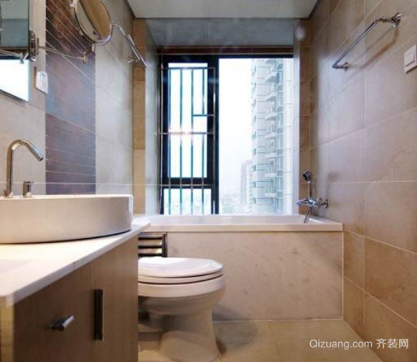 两居室长方形卫生间装修效果图