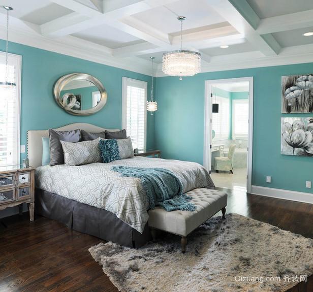 2015大户型地中海卧室背景墙装修效果图