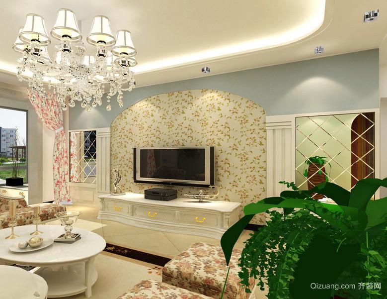 2015三室一厅田园风格客厅电视背景墙装修效果图