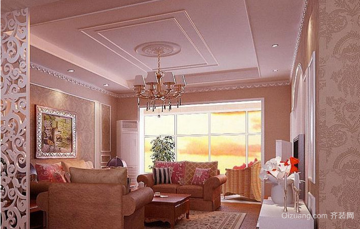 2015装修必备的现代客厅客厅石膏线效果图
