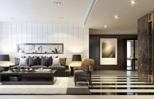 150平米三室两厅两卫客厅地砖拼花装修效果图