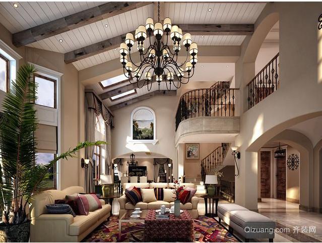 美式乡村别墅客厅吊顶装修效果图