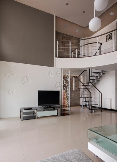 120平米现代简约跃层客厅装修效果图