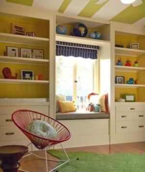 充满童真的大户型儿童房飘窗装修效果图