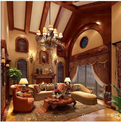 东南亚别墅客厅吊顶装修效果图
