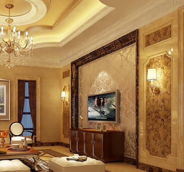自在 的别墅型现代客厅影视墙装修效果图