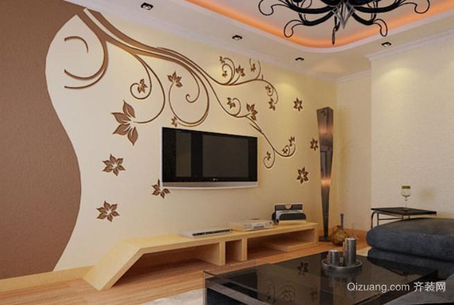2015别具特色的单身公寓客厅硅藻泥背景墙装修效果图
