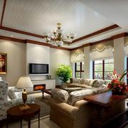 客厅吊顶沙发背景墙图