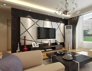 悠然自在的别墅型现代客厅影视墙装修效果图