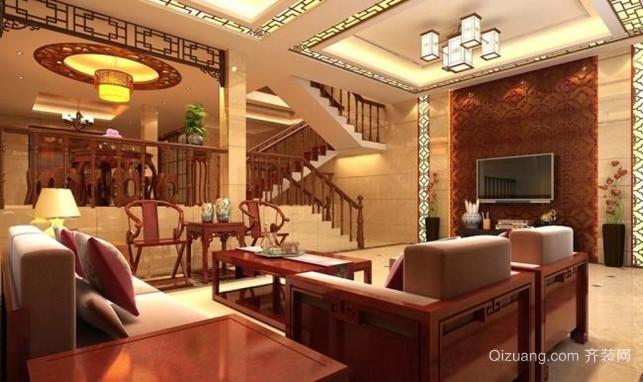 充满复古写意的中式客厅装修效果图大全