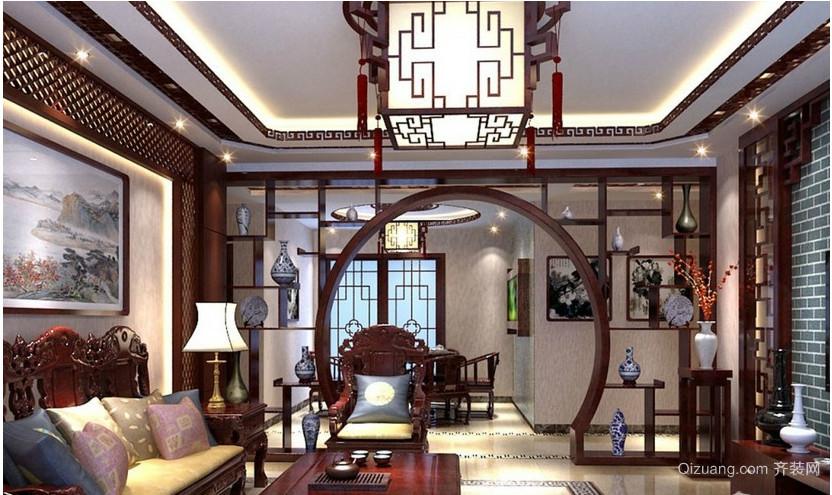 中式别墅客厅吊顶装修效果图