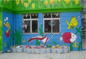 2015充满童话色彩的现代幼儿园手绘墙效果图