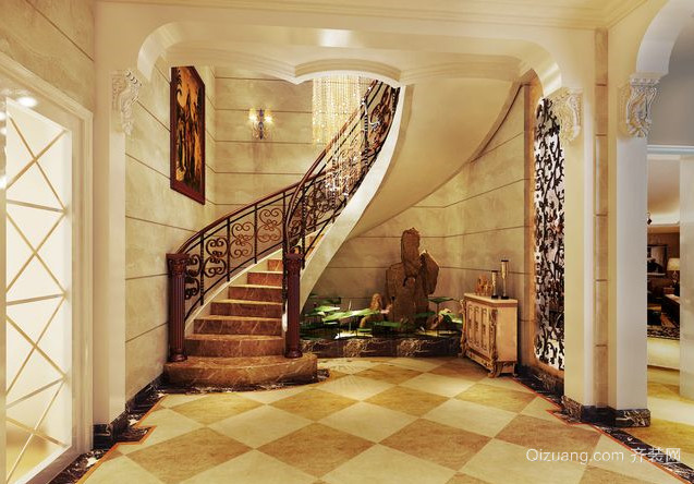 120平米客厅欧式旋转楼梯装修效果图