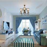 地中海风格客厅装修窗帘图