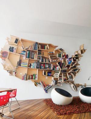 大气简约的书房创意书架装修效果图