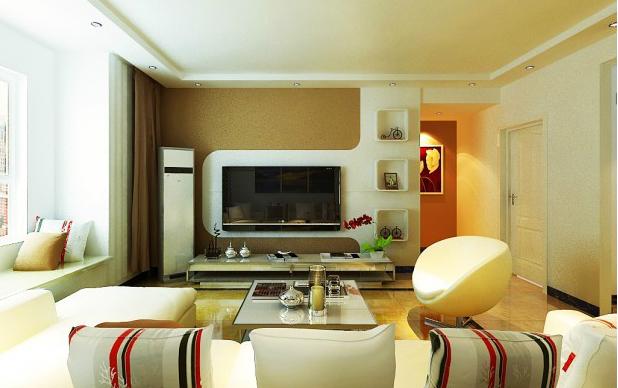 悠然自在的 别墅 型现代 客厅影视墙 装修效果图